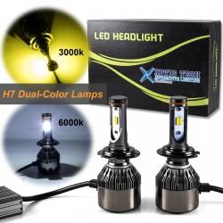 Kit LED Dupla Cor 3000k 6000k- H4 - H7 - 12000 Lumens 12/24v
