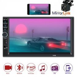 """Rádio LCD 7 """" - 2 DIN - Mirror Link - Camara - Bluetooth - USB - Cartão SD"""