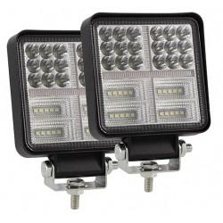 Farol Quadrado LED 162w - Luz Branca + Luz Laranja